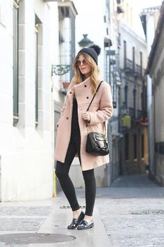 fall/winter casual street style - pale pink coat + pom pom beanie and loafers