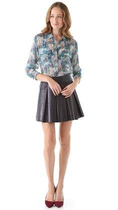 cd31aff86397e alice + olivia Pleated Leather Miniskirt Leather Box