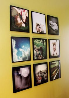 Love the square format - a grouping of 12x12 canvases of instagram photos (or similar) would make a great statement.