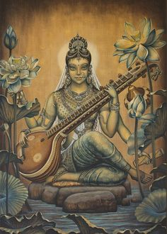 Browse through images in Vrindavan Das' Gods and Goddesses collection. Here I presented paintings about Gods and Goddesses from Vedic scriptures. Saraswati Goddess, Goddess Art, Saraswati Mata, Saraswati Statue, Saraswati Painting, Art Visionnaire, Art Magique, Ganesha, Indian Art Paintings