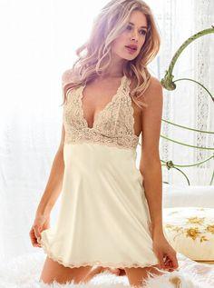 The Angel Satin Halter Slip wedding night lingerie Teddy Lingerie, Pretty Lingerie, Beautiful Lingerie, Lingerie Sleepwear, Nightwear, Classy Lingerie, Wedding Night Lingerie, Honeymoon Lingerie, Wedding Lingerie
