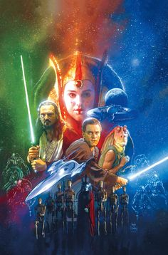 Cover art by Hugh Fleming, for 'Star Wars: The Phantom Menace' published May 1999 by Dark Horse Comics Star Wars Books, Star Wars Art, Star Trek, Obi Wan, Chewbacca, Darth Maul, Star Wars Vintage, Masters, Star Wars Watch