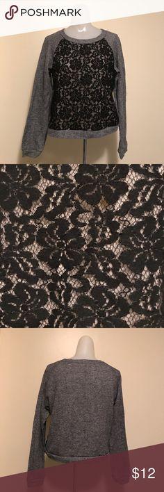 BCBGMaxazria Lace Crewneck Cropped Sweater Gently used condition gray BCBGMaxazria crewneck cropped sweater with black floral lace. Women's size medium. BCBGMaxAzria Sweaters Crew & Scoop Necks