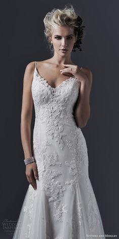 sottero and midgley bridal fall 2015 2016 sandrina sleeveless slim a line wedding dress spaghetti straps godet skirt bodice close up