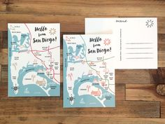Hello from San Diego! This postcard extends a friendly hello from sunny San  Diego. The map illustration highlights the different neighborhoods and  landmarks of the city.  • Single postcard, double sided • Bright white, smooth heavy paper • Digital (flat) printed • 4.25 x 6 inches • Hand drawn illustrations • Two color variations: magenta, gold and black or orange, green and black • Designed and printed in San Diego, Ca