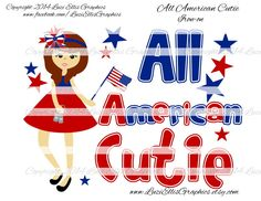 Print your own Iron on - All American Cutie of July Patriotic USA DIY Printables - Digital Sheet - digital transfer by LuziEllisGraphics on Etsy Reverse Mirror, Elephant Balloon, Digital Image, Boy Birthday, 4th Of July, Balloons, My Etsy Shop, Banner, Iron