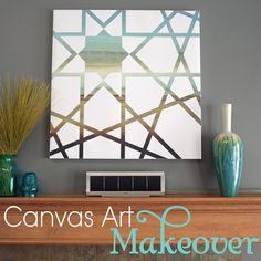 """Tape off designs on old canvas    --also includes this brilliant tip for clean lines:  """"mod podged over the edges of the tape and the contact paper. This seals the seam, so the paint won't seep through. If any mod podge leaks under, it is no big deal, since mod podge dries clear"""""""