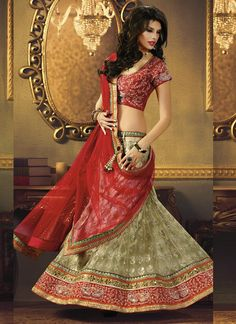Net Green and Red Embroidered, Patch Border and Stone Lehenga Choli  www.ethnicoutfits.com  Email : support@ethnicoutfits.com Call : +918140714515 What's app : +918141377746