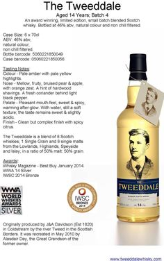 Now available in S.E. Asia from Scotch Corner Whisky www.scotchcornerwhisky.com/Tweeddale-single-cask-blended-scotch-Whisky #Scotch #Whisky #Asia