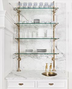 We are excited about how this little area came together. Classic bistro shelving with a petite brass prep sink. Diy Home Bar, Bars For Home, Diy Interior, Interior Exterior, Interior Designing, Brass Shelving, Open Shelving, Shelving Ideas, Fixer Upper Style