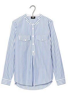 E-shop Chemise Col Mao Rayée En Coton Bleu Kookai pour femme sur Place des tendances Groupe Printemps. Retrouvez toute la collection Kookai pour femme.