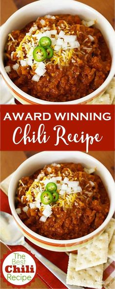 The best chili recipe ever! One of our family's favorite dinner recipes that feeds a crowd. The best chili recipe ever! One of our family's favorite dinner recipes that feeds a crowd. Chilli Recipes, Crockpot Recipes, Soup Recipes, Dinner Recipes, Cooking Recipes, Healthy Recipes, Chili Recipe Crockpot Best, Recipies, No Bean Chili Crockpot