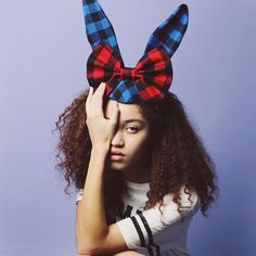 plaid bunny ear hat with bow
