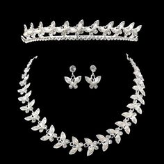 silver butterfly Pearl Bead tiara crown Necklace And Earring Sets