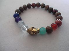 8 Chakra and Unakite Gemstone Buddha Stretch Bracelet,Healing Bracelet,