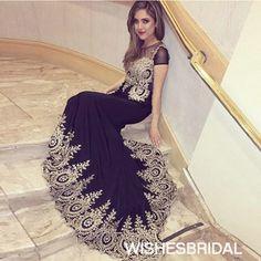 Wishesbridal Short Sleeve O Neck Chiffon Sweep Train #Appliques Black Trumpet Mermaid #Prom Evening Dress Cwb0845