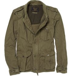 J.Crew | Waterproof Coated Jacket   J.Crew military green jacket with front zip and buttons, epaulettes, cuff buttons, ribbed corduroy collar and four front snap-fastening pockets. Team this failsafe cotton coverup with fresh whites and worn-in denim for a classic off-duty look.  Available to purchase via Mr. Porter