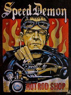 Speed Demon Mike Bell Frankenstein Hot Rod Lowbrow Fine Art Print Lithograph