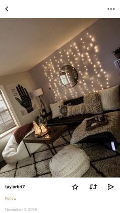 Fairy lights in living room college living rooms, college apartments, college room decor, College Living Rooms, College Room Decor, Home Living Room, Apartment Living, College Apartments, First Apartment Decorating, Living Room Lighting, Bedroom Decor, Wall Lights