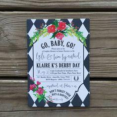 Custom Kentucky Derby Baby Shower Invitations - Printable Digital File  ______________________________________________ DIGITAL  Size: 5 x 7