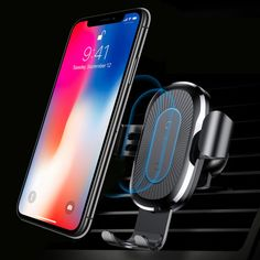 POSROC Wireless Charger Gravity Phone Holder Handsfree Car Air Vent Dash Mount for Samsung Galaxy Apple iPhone and Qi Enabled Android Phones