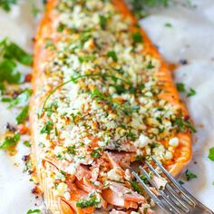 Feta and Herb Crusted Salmon Recipe Main Dishes with salmon fillets, feta cheese, fresh parsley, chopped fresh chives, lemon, salt, pepper