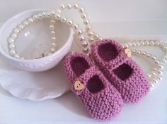 Knitted Mary Janes shoes  by NannysVintageKnit on Etsy, £4.00