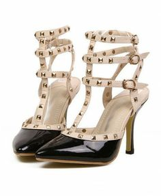 Rivets Embellishment Heeled Sandals with Ankle Belt Loop