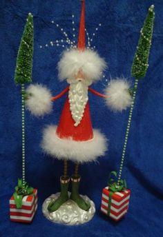 Patience Brewster Krinkles Santa Holding Trees Figure Display | eBay