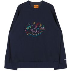 BAUHAUSSpace Theme Embroidery Sweatshirt   MIXXMIX ($32) ❤ liked on Polyvore featuring tops, hoodies, sweatshirts, sweaters, sweater pullover, loose fitting tops, pullover sweatshirt, loose long sleeve tops and loose tops