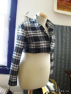 Flannel shirt upcycled into jacket.