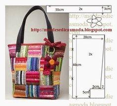 SEQUÊNCIA OPERATÓRIA PARA CORTE Corte dois retângulos de tecido com a altura e largura que pretende para a bolsa. Desenhe as laterais do saco e retire 2 cm. Desenhe o fundo do saco com a altura e larg