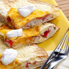 Seafood Quesadillas Recipe ` THIS IS TERRIFIC! It could be used alone as a salad on  a bed of lettuce or in a tomato. It could also be made with pasta as a salad.
