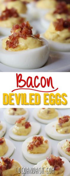 Bacon Deviled Eggs! These are the perfect part food! Salty Bacon on a perfect deviled egg!!