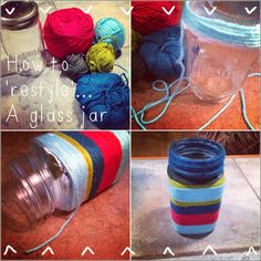 How to 'restyle' a glass jar into a funky vase.