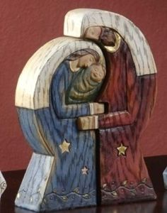 Pack of 3 Woodworks Religious Holy Family 2-Piece Christmas Puzzle Figure Sets