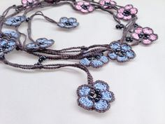 Turkish Crochet Oya Style Necklace. Blue Pink by KaterinaDimitrova