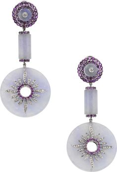 Lavender Jade, Purple Sapphire and Diamond Earrings. Carved lavender jadeite jade bi, enhanced by round-shaped purple sapphires weighing a total of approximately 1.50 carats, accented by full-cut diamonds weighing a total of approximately 0.35 carat, set in 18k gold having black rhodium accents, completed by posts with omega backs. Gross weight 37.80 grams.