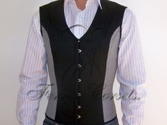 Men's waistcoat-style corset in wool and jacquard by Ferrer Corsets