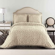Layla Twin Bedspread (Taupe/Linen) (1H x 81W x 110D)