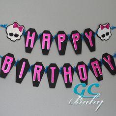 Monster High Happy Birthday Banner  Coffins Skulls in by GCBaby