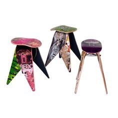 Real broken skateboards are both the inspiration and the raw material used in these innovative Deckstools @ Touch of Modern