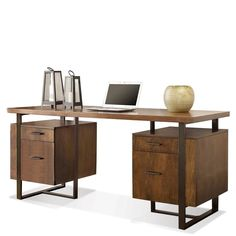 Large Computer Desk Office Desk Table Study Writing Wood Home Office Large Computer Desk, Office Computer Desk, Home Office Desks, Office Decor, Office Table, Cozy Office, Double Desk, Executive Office Desk, Riverside Furniture