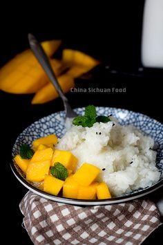 Tailandés del arroz pegajoso con Mango