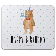 """Mauspad Druck Birthday Bär aus Naturkautschuk  black - Das Original von Mr. & Mrs. Panda.  Ein wunderschönes Mouse Pad der Marke Mr. & Mrs. Panda. Alle Motive werden liebevoll gestaltet und in unserer Manufaktur in Norddeutschland per Hand auf die Mouse Pads aufgebracht.    Über unser Motiv Birthday Bär  Unser süßer Bär aus der """"Beary Times""""-Kollektion ist richtig im Party Fieber...denn er liebt Geburtstage!    Verwendete Materialien  ##MATERIALS_DESCRIPTION##    Über Mr. & Mrs. Panda  Mr…"""