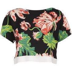 Stella McCartney Topwear ($270) ❤ liked on Polyvore featuring tops, black floral, short sleeve tops, colorful crop tops, floral print tops, cropped tops and boat neck crop top