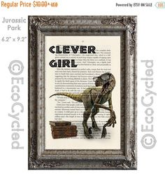 New to EcoCycled on Etsy: SALE Velociraptor Clever Girl with Glasses and Books Dinosaur on Vintage Upcycled Dictionary Art Print Book Art Print Amazing Animalia (8.50 USD)