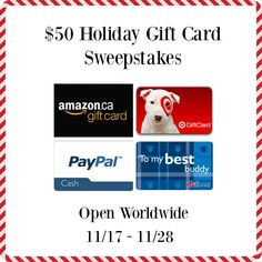 $50 Holiday Gift Card #Sweepstakes - ends 11/28!