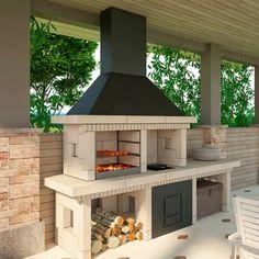 Outdoor Kitchen Patio, Pizza Oven Outdoor, Outdoor Kitchen Design, Barbecue Garden, Backyard Bbq, Parrilla Interior, Outdoor Garden Rooms, Brick Grill, Built In Braai