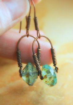 Copper Wrapped Stirrup Style Beaded Earrings, Czech Glass Rivoli Bead